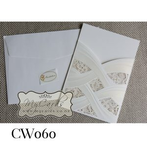 Embossed Lasercut Wedding Invitations Sleeve Auckland NZ CW060