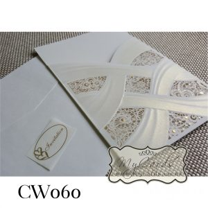 Embossed Lasercut Wedding Invitations Sleeve Auckland NZ