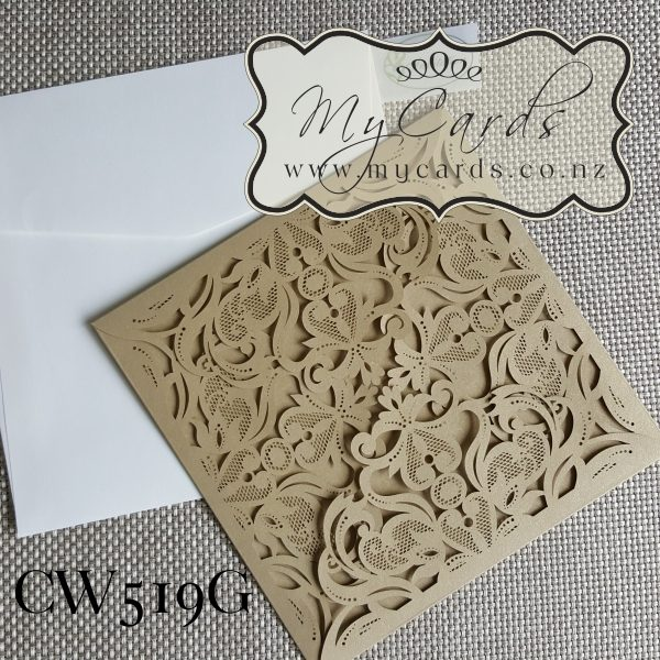 Gold Lasercut Wedding Invitations Auckland NZ CW519
