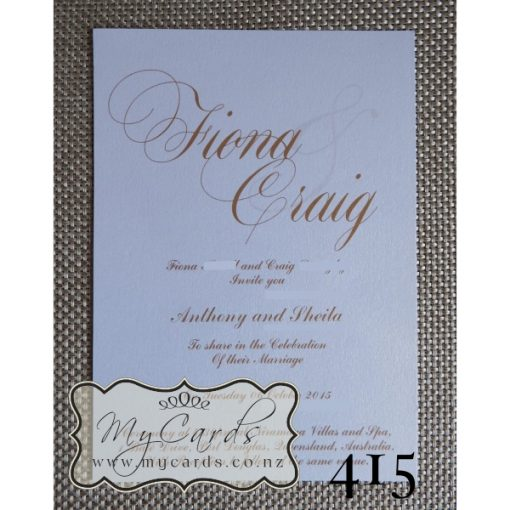 Gold Wedding Invitations Elegant Auckland NZ