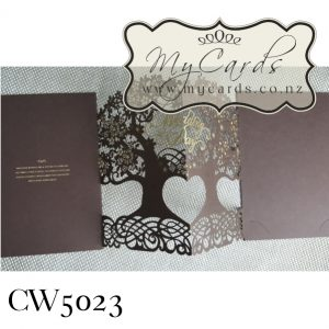 Tree Wedding Invitations Brown CW5023 Gold Foiled NZ