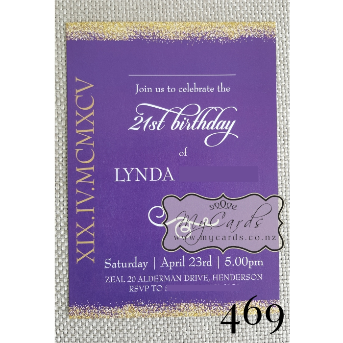 Gold Glitter Confetti 21st Birthday Invitation