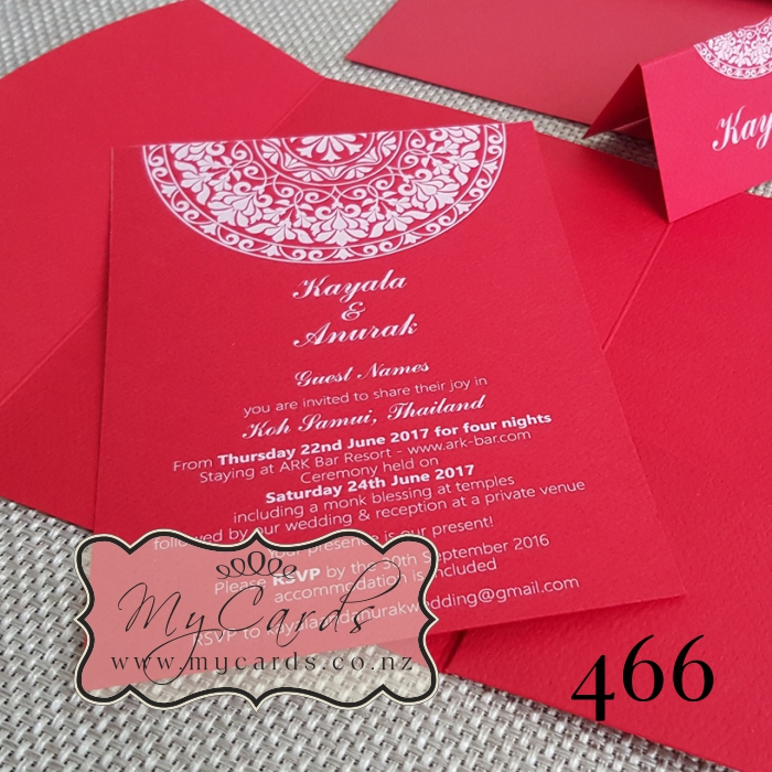 A6 Indian Red White Ink Wedding Invitation Design 466 Mycards