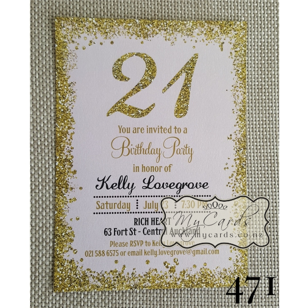 Gold Glitter Confetti Pink 21st Birthday Invitation Design 471