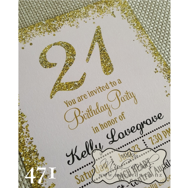 Gold glitter confetti pink 21st birthday invitation design 471 home shop birthday filmwisefo