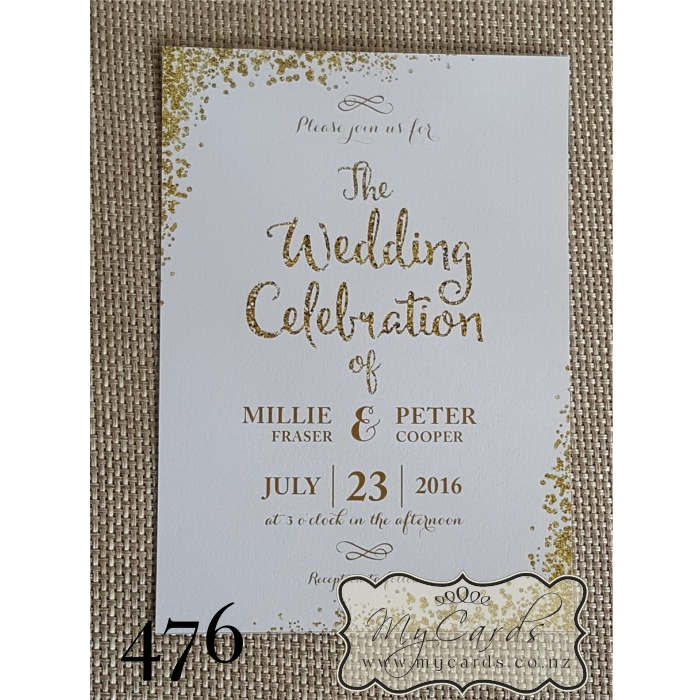 Gold Glitter Confetti Wedding Invitation | Design 476 | MYCARDS ...