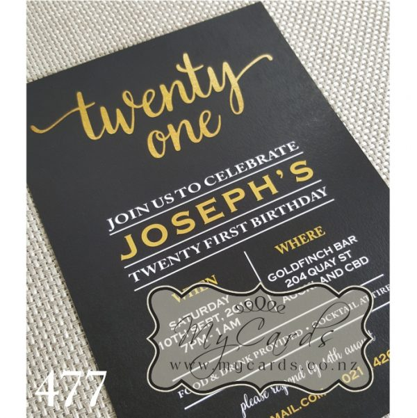 Gold Foil Black 21st Birthday Invitation