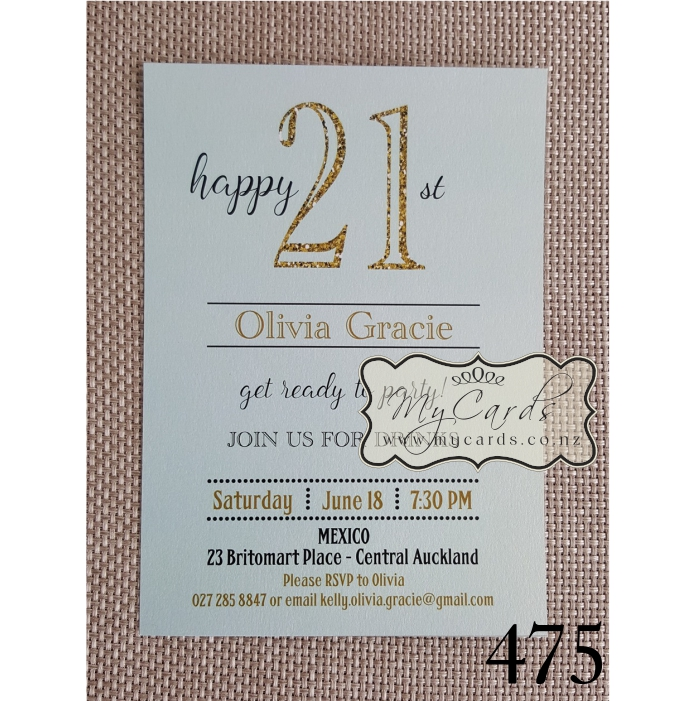 Gold glitter green 21st birthday invitation design 475 mycards home stopboris Choice Image