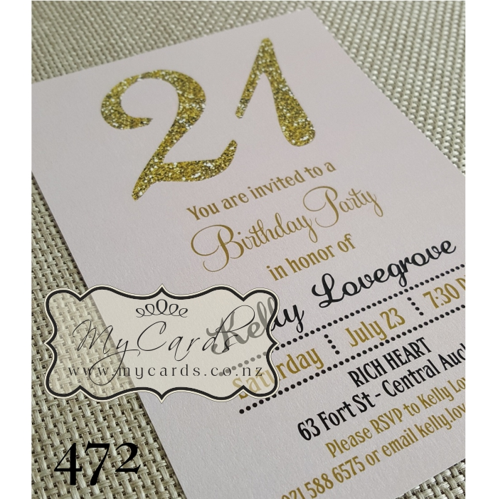 Gold glitter pink 21st birthday invitation design 472 mycards home shop birthday stopboris Choice Image