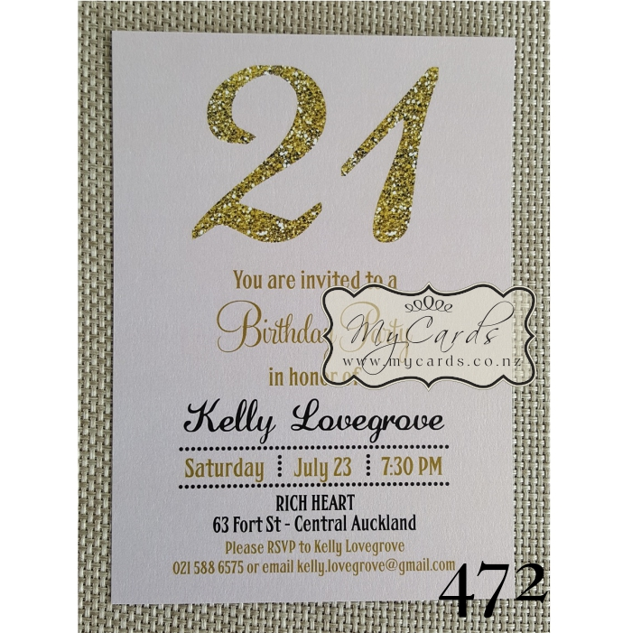 Gold Glitter Pink 21st Birthday Invitation