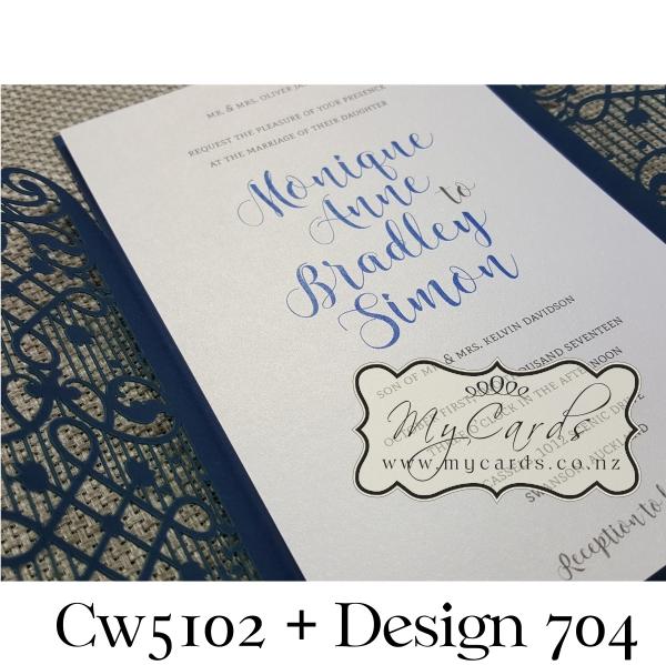 Blue lasercut wedding invitation cover cw5102 navy stopboris Image collections