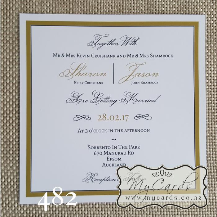 Elegant Gold Border Square Wedding Invitation | Design 482