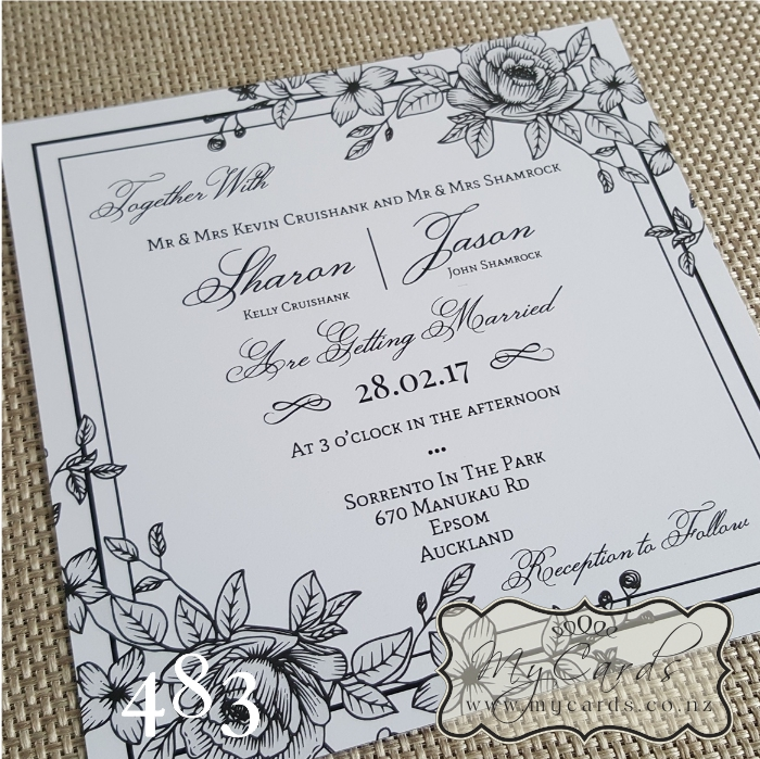 Lineart flowers square wedding invitation design 483 home shop invitations stopboris Image collections