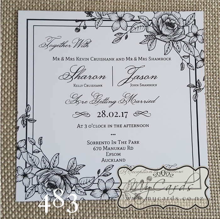 Lineart Flowers Square Wedding Invitation | Design 483