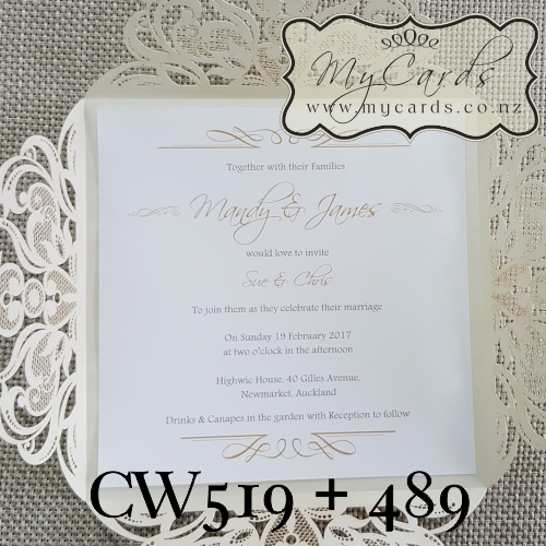 Elegant Gold Square Wedding Invitation