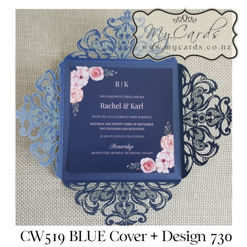 Blue Pink Wreath Lasercut Wedding Invitation Square