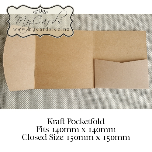 150mm square pocketfold kraft mycards wedding invitations