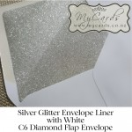 white-c6-diamond-flap-envelope-with-silver-glitter-liner-mycards-auckland-nz