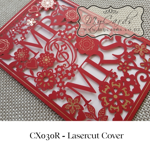 Wedding Gifts Auckland: Lasercut Wedding Invitation Cover Mr And Mrs CX030 Red
