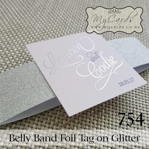 belly band glitter foiled tag wedding invitation mycards auckland nz