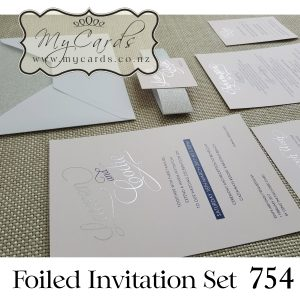 foil wedding invitation layered set belly band inserts envelope rsvp wishing well honeymoon silver auckland nz mycards