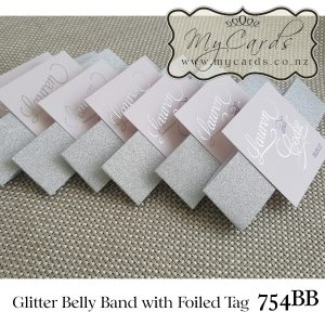 glitter belly band silver with foiled tag mycards auckland nz foil wedding