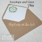 Kraft Envelope with Liner Green Wreath Leaves Bride and Groom names auckland nzmycards