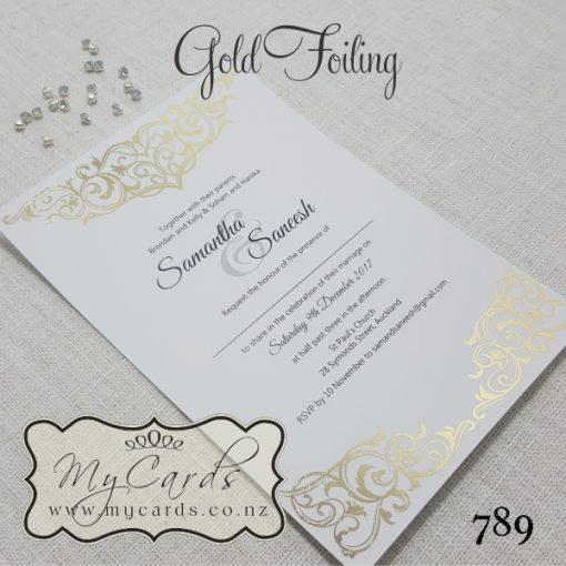 gold foil wedding invitation foiled foiling indian auckland mycards 789