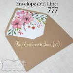 kraft envelope with envelope liner pink flowers wedding auckland nz 5x7 777mycards
