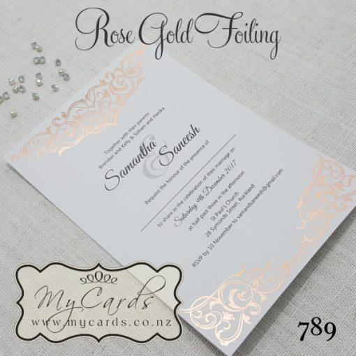 Rose Gold Foil Damask Wedding Invitation Design 789
