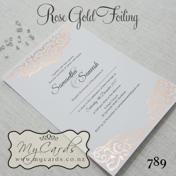 Rose Gold Foil Damask Wedding Invitation Design 789 Auckland Nz