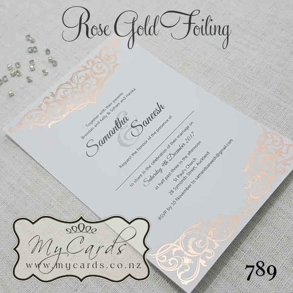 rose gold foil damask wedding invitation design 789 auckland nz