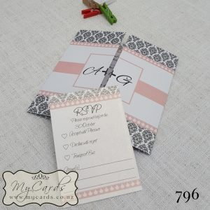 Pink Silver Damask Wedding Invitation Design 796 | MYCARDS | AKLD | NZ | AUCKLAND