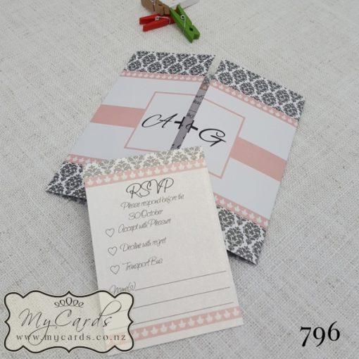 Pink Silver Damask Wedding Invitation Design 796   MYCARDS   AKLD   NZ   AUCKLAND