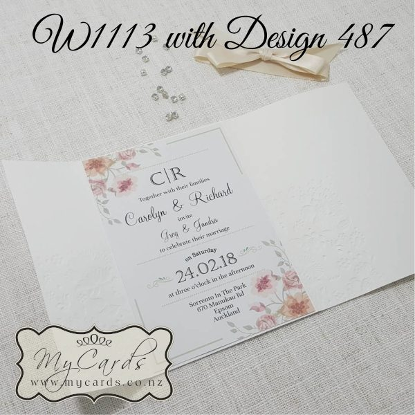 Embossed Wedding Invitation Cover Cream W1113