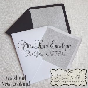 glitter lined envelopes silver white black c6 5x7 closeup auckland new zealand nz mycards