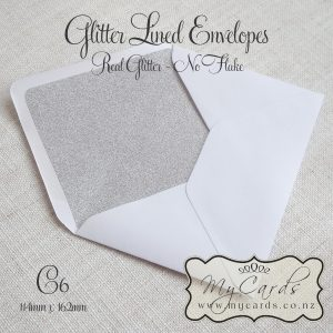 glitter lined envelopes silver white c6 5x7 auckland nz mycards