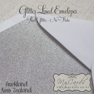 glitter lined envelopes silver white c6 5x7 closeup auckland new zealand nz mycards