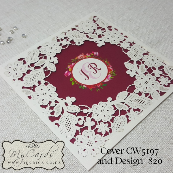 Wedding Gifts Auckland: Burgundy Flowers Lasercut Wedding Invitations Square