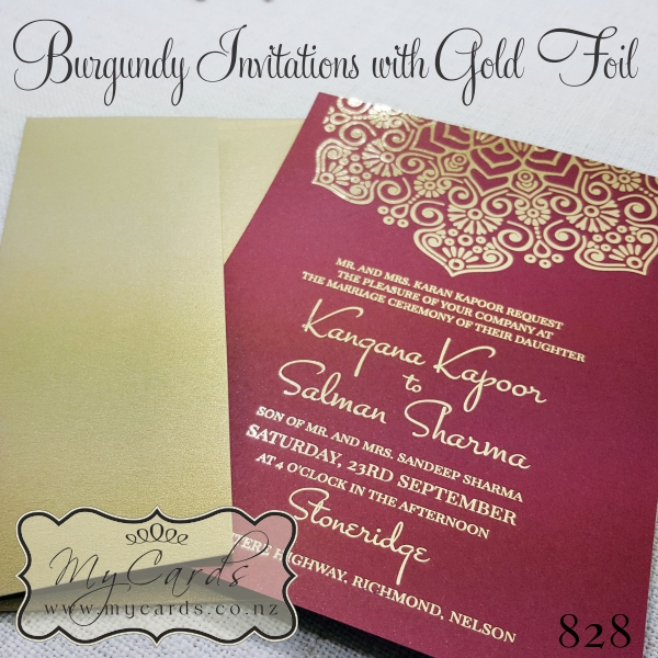 Burgundy card with gold foil damask 5x7 design 828 mycards akld nz home shop foiling foiled invitations stopboris