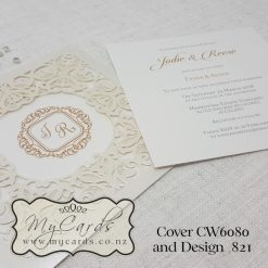 monogram wedding invitation gold square cw6080 laser cover elegant modern mycards auckland nz 821 jodie reese
