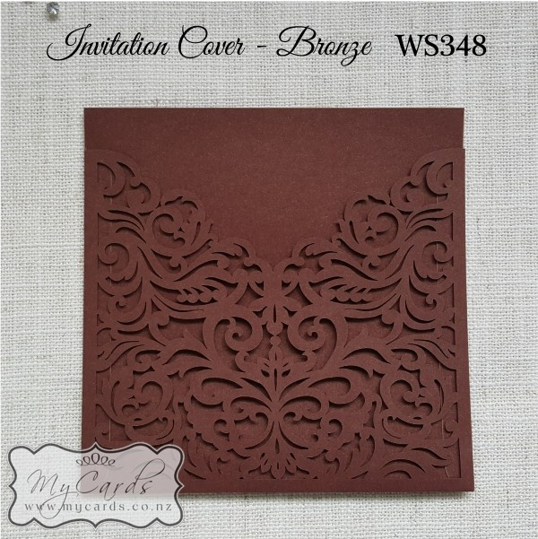 bronze wedding invitation sleeve square ks348 mycards
