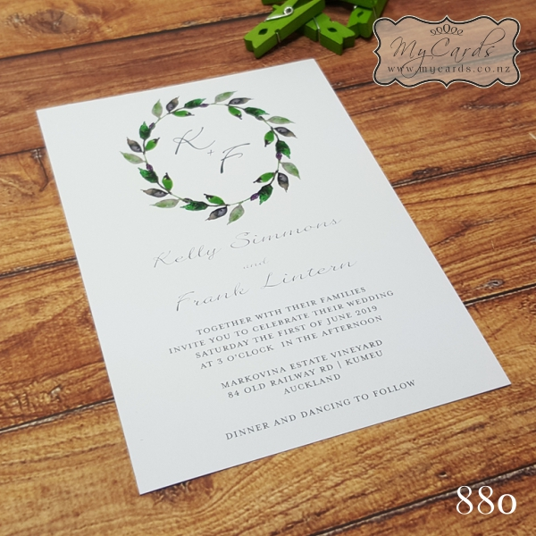 Leaves Wreath Wedding Invitations 880