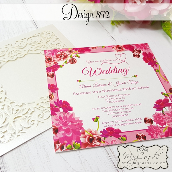 Wedding Invite Borders: Pink Border Flowers Wedding Invitations 892