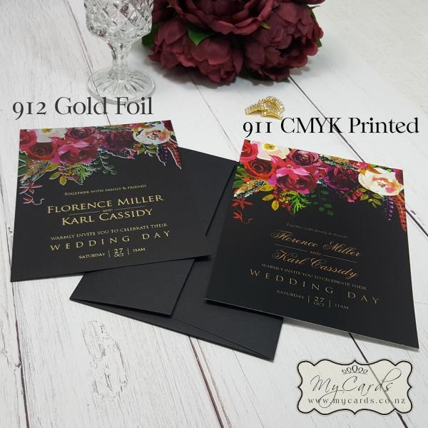 Wedding Gifts Auckland: Burgundy Flowers On Black Card Gold Foil Wedding