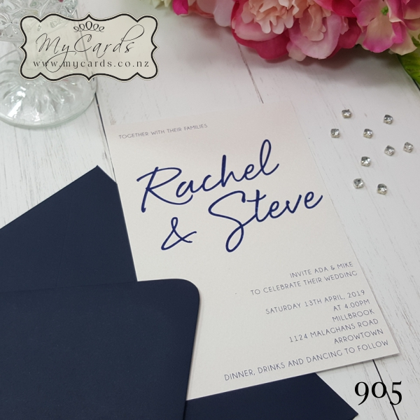 Wedding Gifts Auckland: Simple Elegant Rachel And Steve Wedding Invitations 905