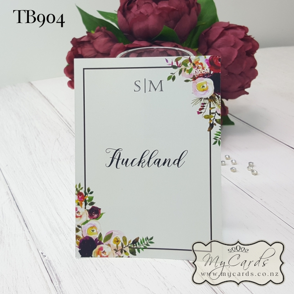 Wedding Flowers Names: Wedding Table Number Cards Burgundy Flowers