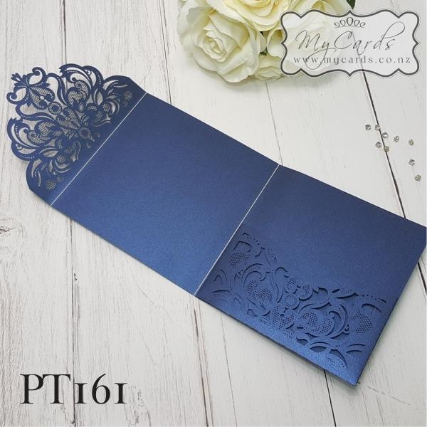 Wedding Invitations Cover: Blue Metallic Square Pocket Wedding Invitation Laser Cover