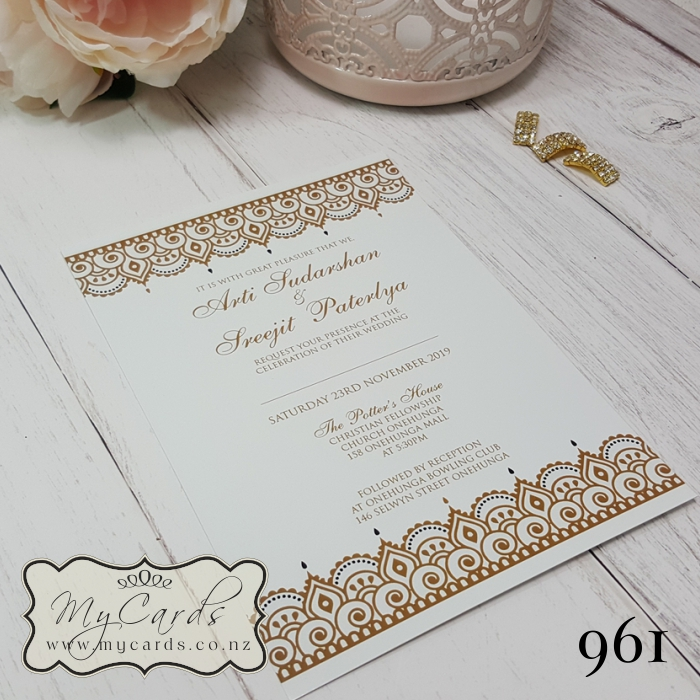 Wedding Gifts Auckland: Gold White Indian Wedding Invitations